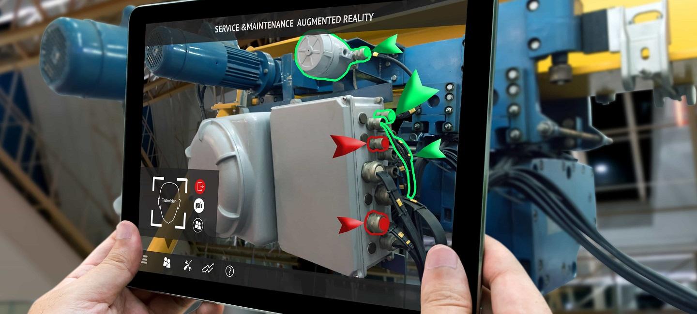工业数字化-工业4.0,增强现实手持平板电脑及AR服务,智能工厂检查销毁零件的维护应用