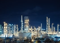 Oil and Gas refinery industry plant with lighting, Factory at night time, Petrochemical plant, Petroleum.
