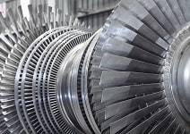 Internal rotor of a steam Turbine at workshop.